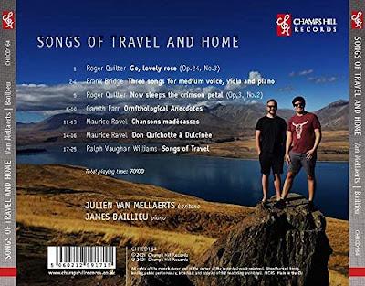 Songs of travel and home - Quilter, Bridge, Gareth Farr, Ravel, RVW; Julien Van Mellaerts, James Baillieu, Bryony Gibson-Cornish, Sofia Castillo, Raphael Wallfisch; Champs Hill Records