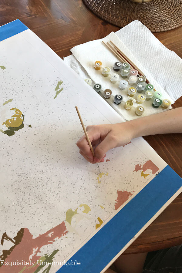 Person does a paint By Numbers on a numbered canvas