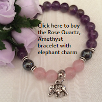 Rose Quartz Amethyst Bracelet with Elephant