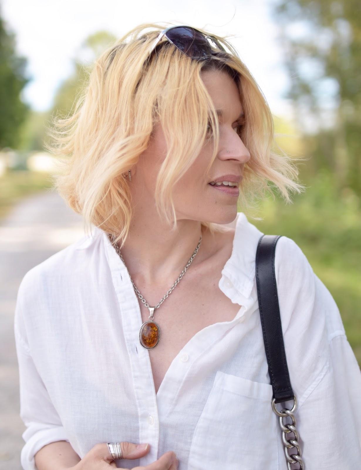 white linen shirt, amber pendant