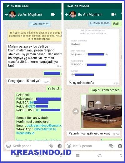 Ranjang Stainless Minimalis pesanan Bu Ari di Bekasi