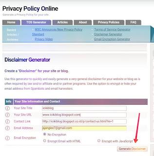 Cara Membuat Disclaimer di Blog atau Website Secara Online