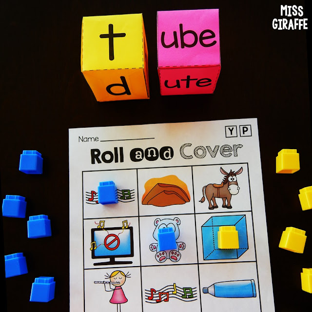 Long u activities and games to practice this tricky silent e sound! Fun picture support while kids roll and read words with this challenging phonics skill!