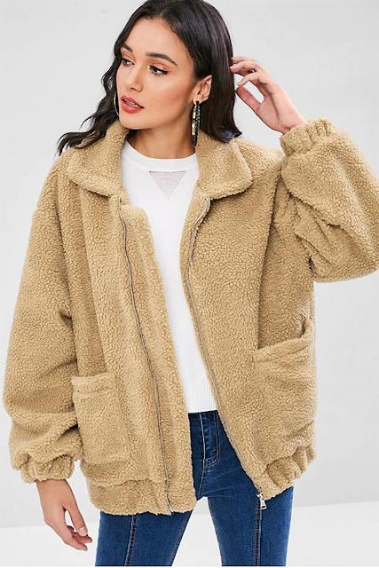 Fluffy Zip Up Winter Teddy Coat - Camel Brown M