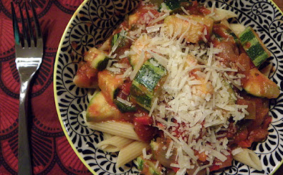 pasta with heirloom tomato sauce and Parmesan