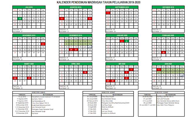 Kalender Pendidikan Madrasah Tahun Pelajaran 2019/2020