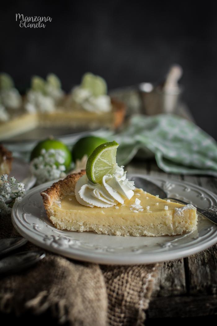 Tarta de lima y coco