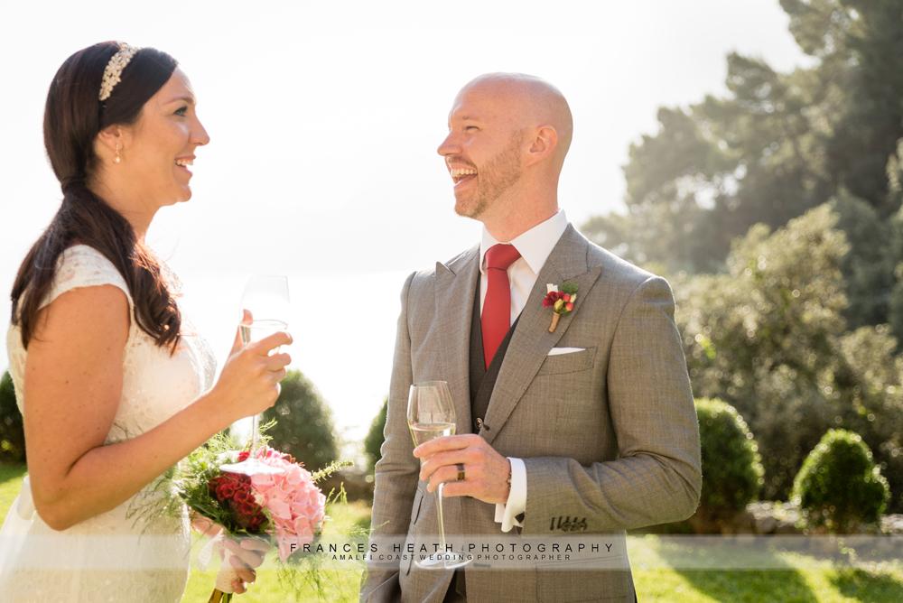 Happy wedding couple in Praiano