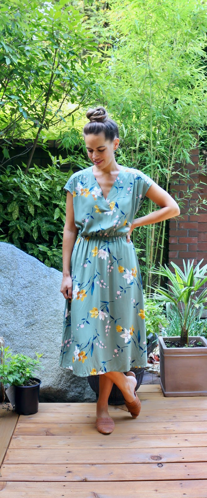 Jules in Flats - Floral Midi Dress (Business Casual Workwear on a Budget)