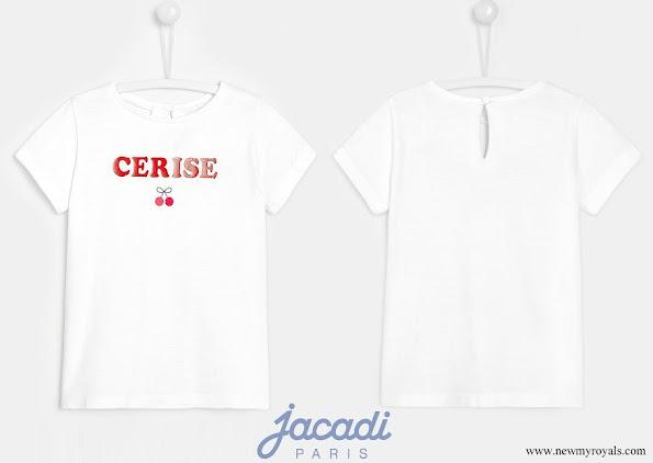 Princess Athena wore Jacadi Girl slogan t-shirt