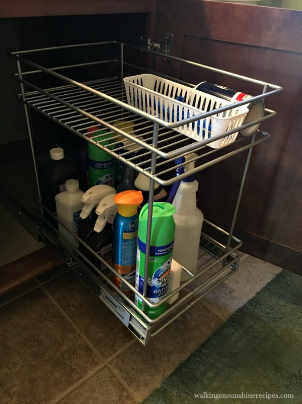 Look How Nice All The Cleaning Products Fit With This Pull Out Basket. And  I Love The Soft Close Glides Both Baskets Have!