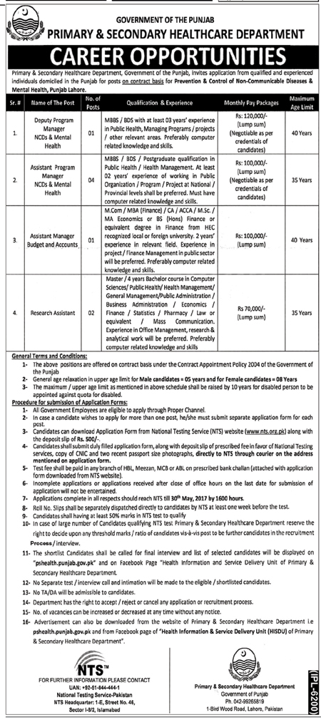 Advertisement Job In Primary And Secondary Healthcare Department Lahore  16 May 2017