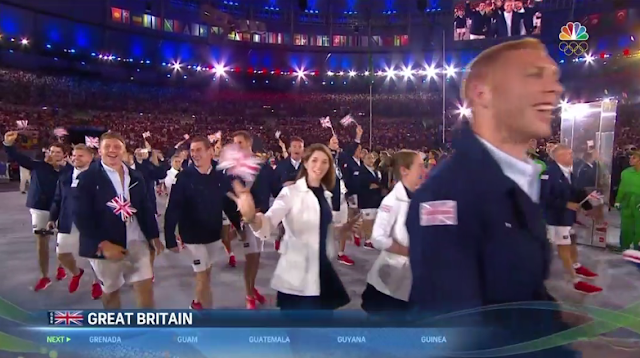 Great Britain United Kingdom athletes delegation uniform outfit shorts Rio 2016 Olympics Opening Ceremony