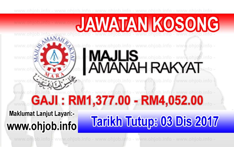 Jawatan Kerja Kosong MARA - Majlis Amanah Rakyat logo www.ohjob.info disember 2017