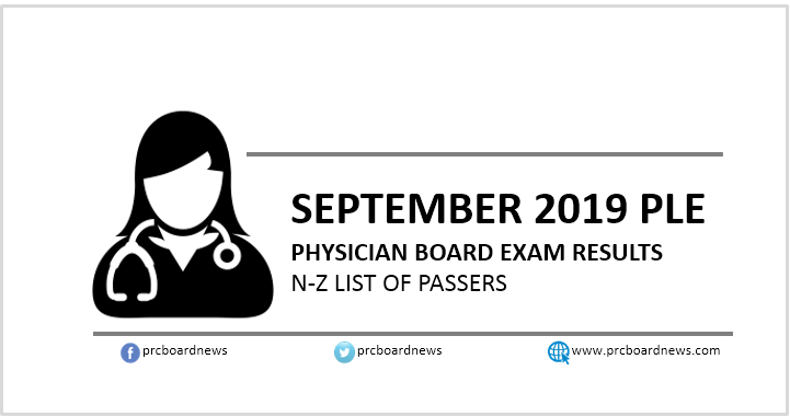 N-Z Passers: September 2019 Physician (Medical Doctor) board exam result