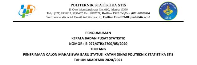 Jadwal Persyaratan dan Tata Cara Pendaftaran Calon Mahasiswa STIS Tahun Akademik 2020/2021