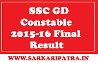 SSC GD Constable 2015 Final Result 2017