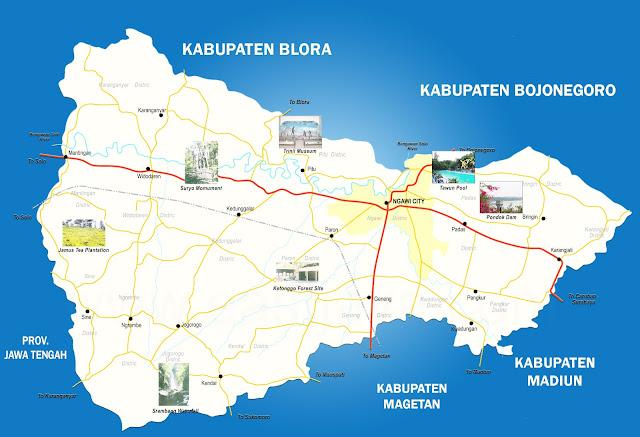 Gambar Peta Kabupaten Ngawi, Jawa Timur