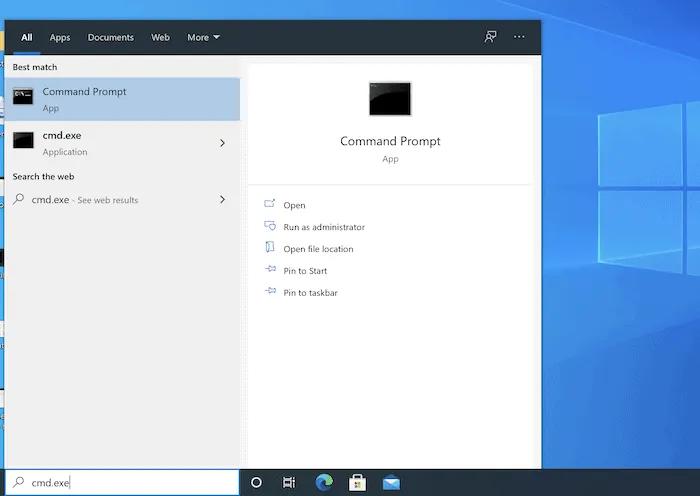 قائمة ابدأ في Windows.