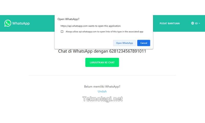 Izinkan Chrome Buka WhatsApp Untuk Melanjutkan Chat (Teknolagi.net)