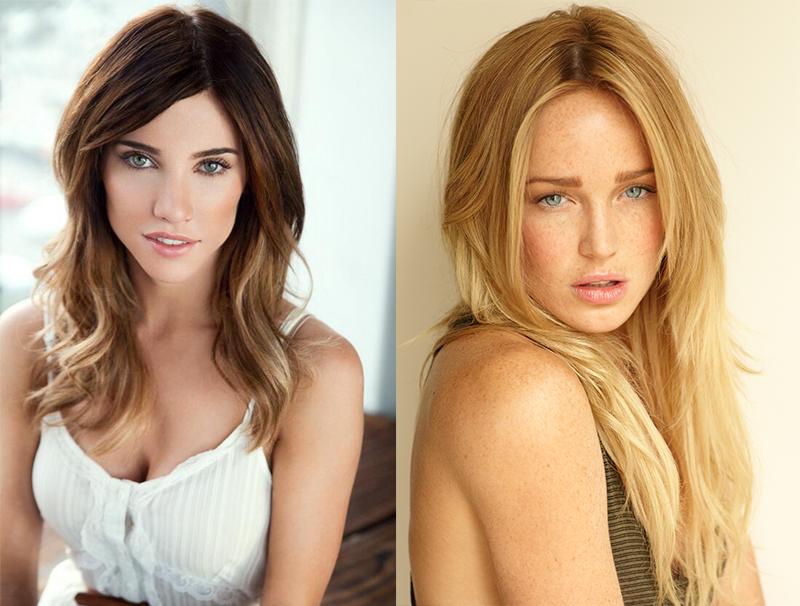 A la izquierda Jacqueline Maclnnes Wood y a la derecha Caity Lotz actrices que interpretan a Sarah Lance en Arrow