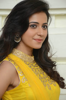 Rakul Preet Singh Latest Pictures in Yellow Salwar Kameez at Gopichand Prod.No.5 Movie Opening