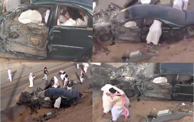 فيديو| سعوديون ينجون من موت محقق في حادث تفحيط فيديو مرعب جدا للكبار فقط