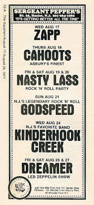 Sergeant Pepper's rock club Hazlet, New Jersey band line up ad from The Aquarian August 1977