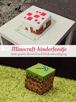 Minecraft kinderfeestje - met gratis download blokuitnodiging