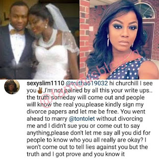 Tonto Dikeh And Churchill's Drama Takes A New Turn As His US Based Ex Wife Calls Him Out (Read Full Gist) 2