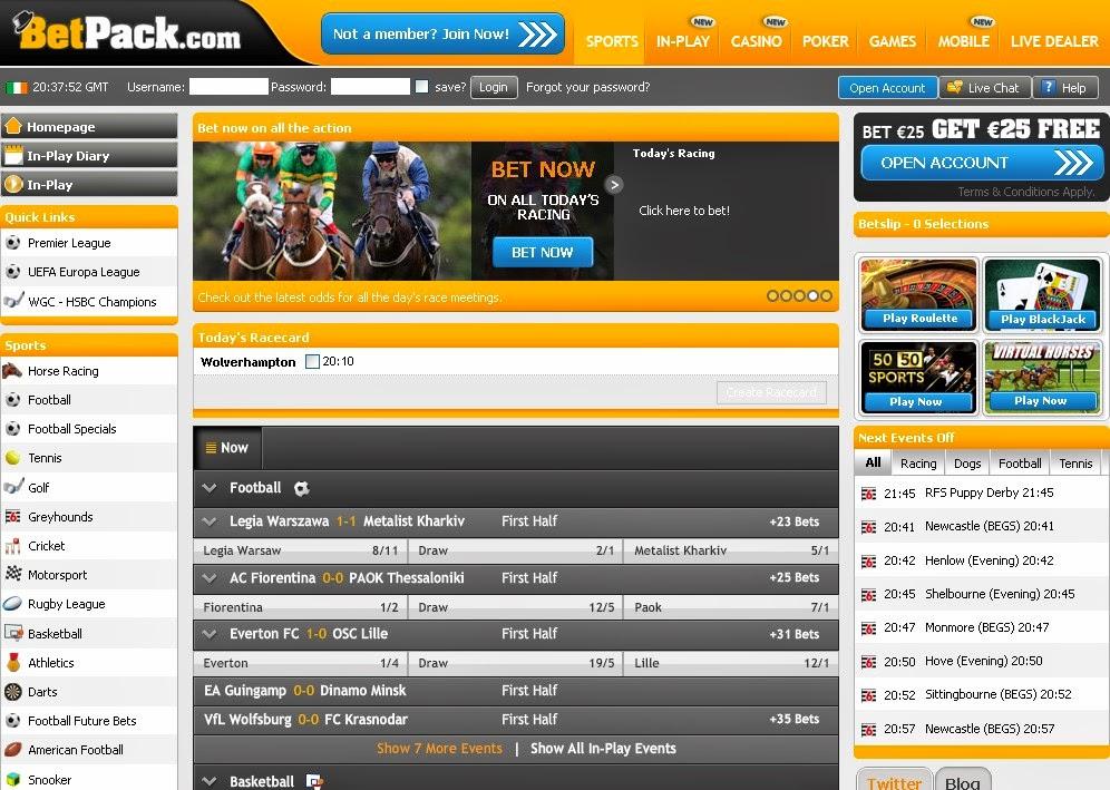 BetPack Sportsbook Screen