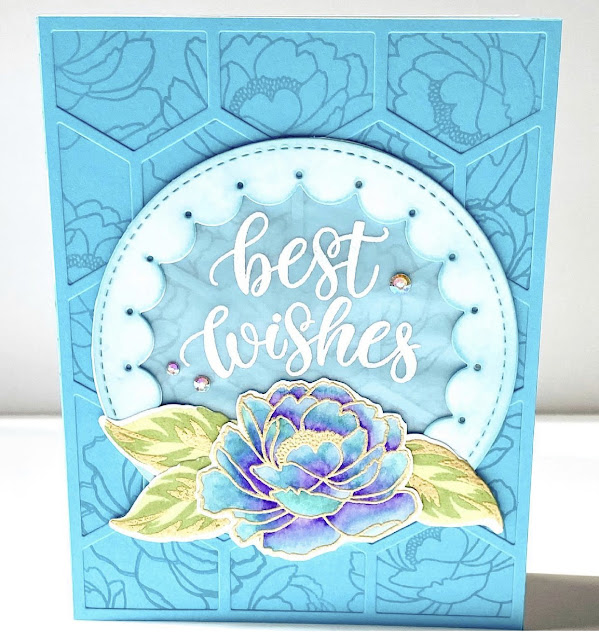 Sunny Studio Stamps: Pink Peonies Customer Card by Jen Mathis