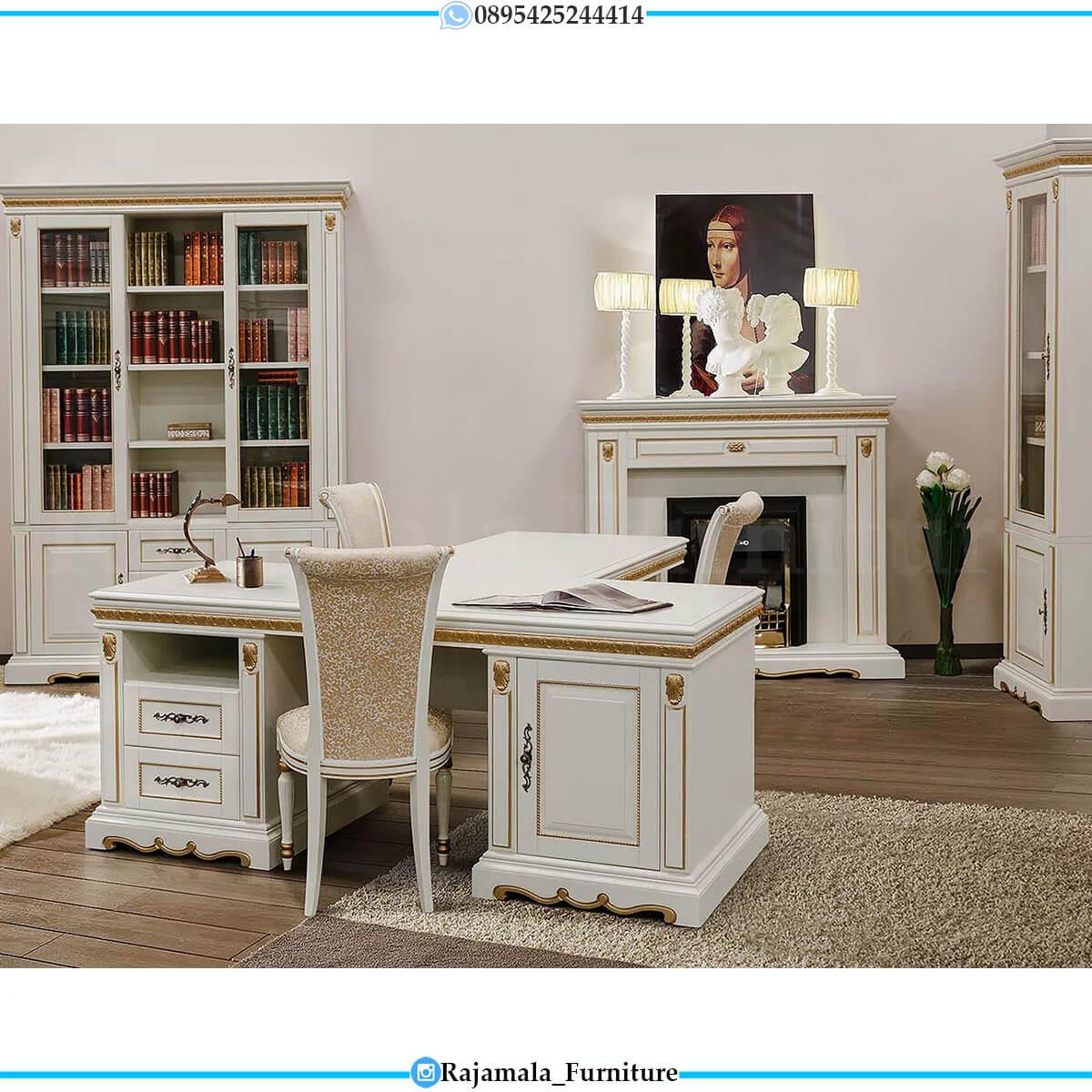 Model Meja Kerja Mewah Putih Luxury Furniture Jepara Classic RM-0571