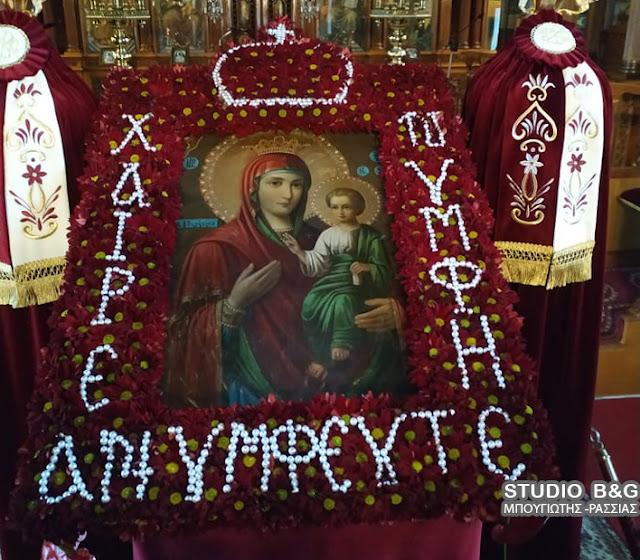 Εξαιρετικός στολισμός της εικόνας της Παναγίας κατά τους τελευταίους χαιρετισμούς στον Άγιο Πέτρο Άργους