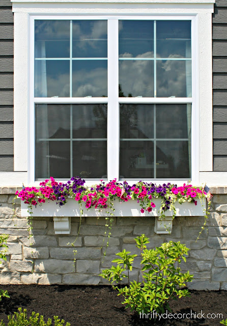 White windows boxes with pink and purple flowers