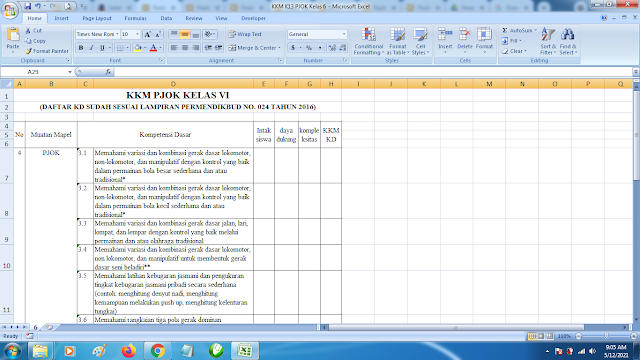 Download Contoh KKM K13 Kelas 6 SD Kurikulum 2013 Terbaru