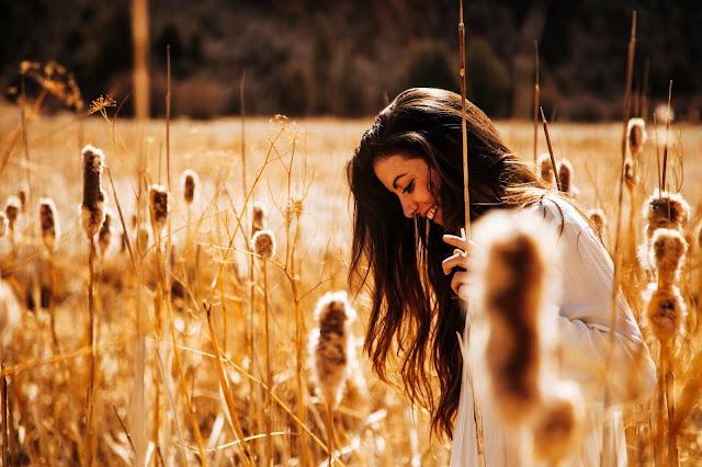natura, capelli lunghi, donna, sorriso