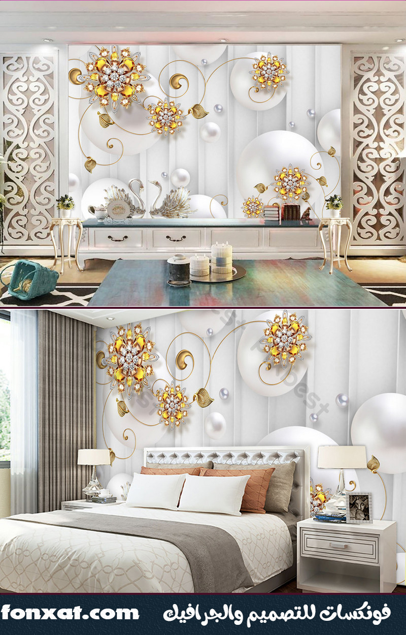 Download designs designs in the form of white circles branches of golden roses