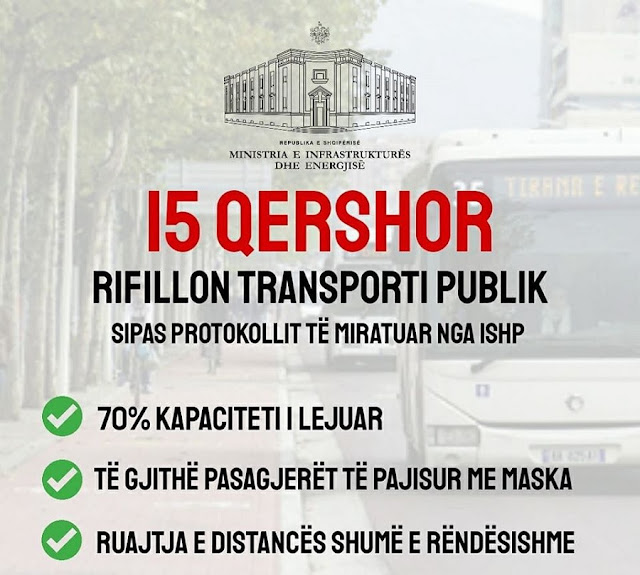 Public transport resumes in Albania on June 15