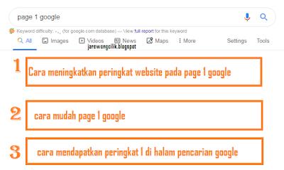 Cara meningkatkan posisi blog ke pringkat 1 google