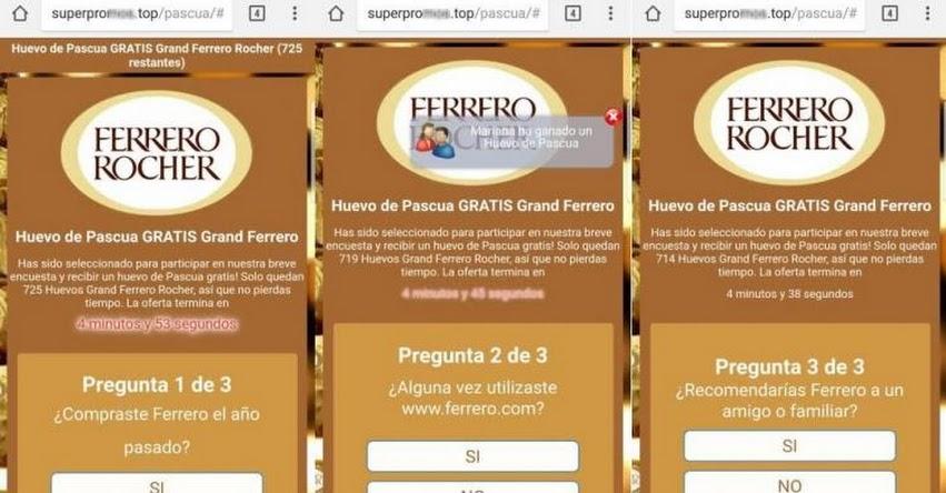 NUEVA ESTAFA EN WHATSAPP: Ofrecen ganar tradicionales huevos de chocolate de Empresa Italiana Ferrero Rocher mediante una encuesta, advierte ESET