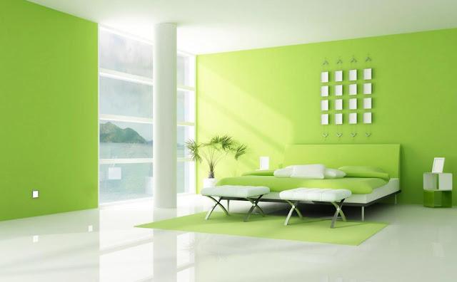 interior kamar tidur minimalis hijau 2017