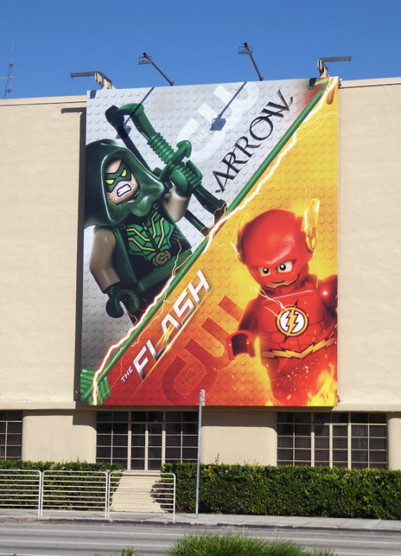 Arrow The Flash Lego billboard WB Studios