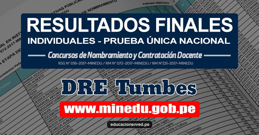 DRE Tumbes: Resultado Final Individual Prueba Única Nacional y Relación de Postulantes Habilitados para Etapa Descentralizada Nombramiento Docente 2017 - MINEDU - www.dret.edu.pe