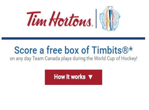 Tim Hortons Free Timbits World Cup of Hockey Offer
