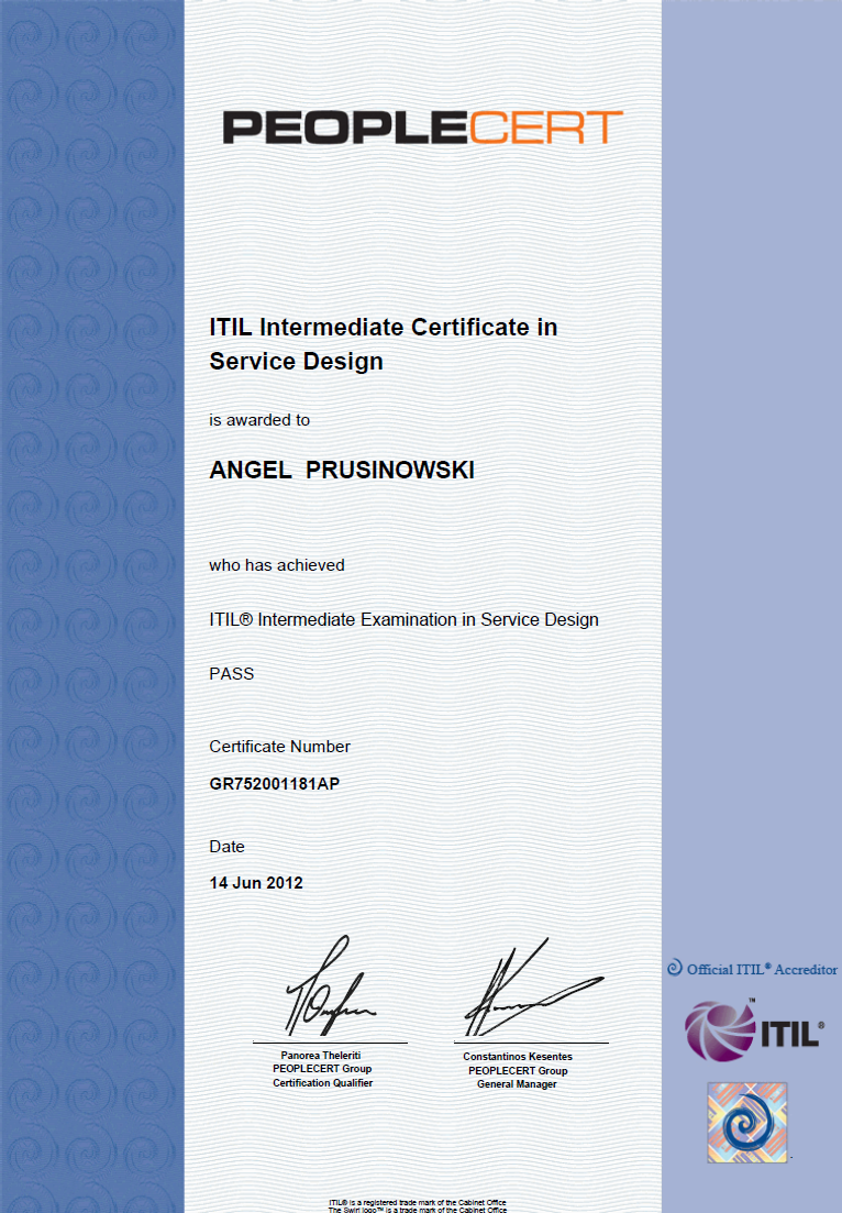 My itil service design sd certificate my itil life for Itil service design document template