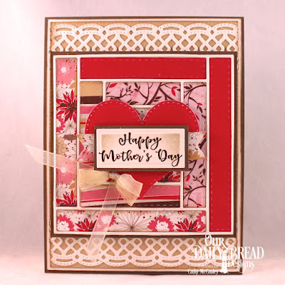 Our Daily Bread Designs Stamp/Die Duos: The Greatest Gift, Paper Collection: Beautiful Blooms, Custom Dies: Log Cabin, Pierced Rectangles, Pierced Heart, Beautiful Borders, Double Display Layers