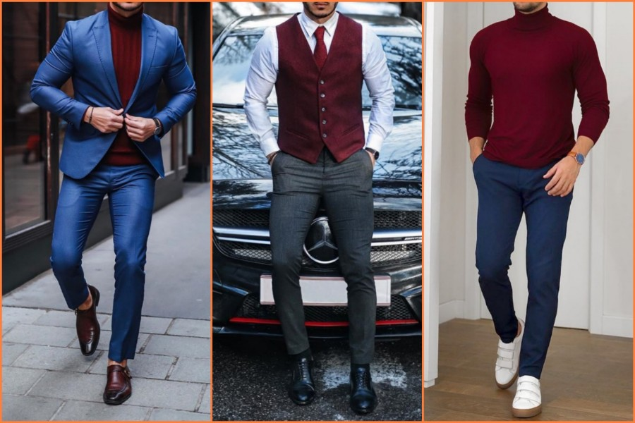 Wine color, burgundy, maroon color outfit men.