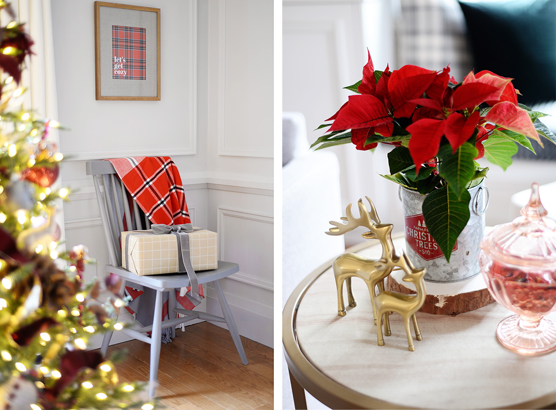 Grey swivel chairs. Christmas decor ideas. Living room decorated for Christmas