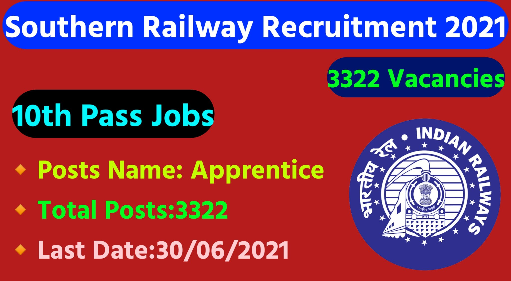 Southern Railway Recruitment 2021 Notification|Apply Online Apprentice 3322 Posts